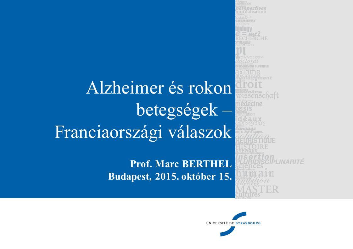 Hatóságok reakciói Franciaországban hagyománya van a tervezésnek Több hatáskörhöz tartozik az egészségügy és az egészségügyi-szociális terület szervezése : o Állam o Megye o Betegbiztosítás A négy egymást követő Alzheimer - terv