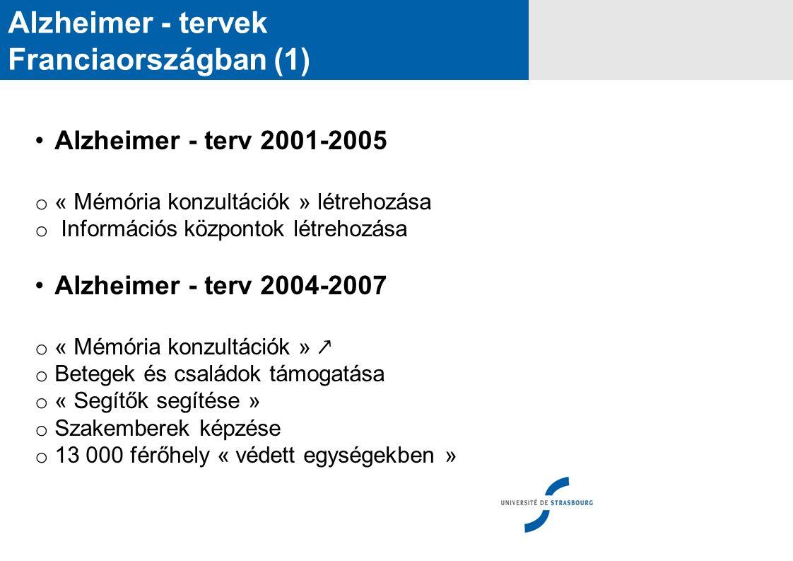 Alzheimer - tervek Franciaországban (1) Alzheimer - terv 2001-2005 o « Mémória konzultációk » létrehozása o Információs központok létrehozása Alzheime