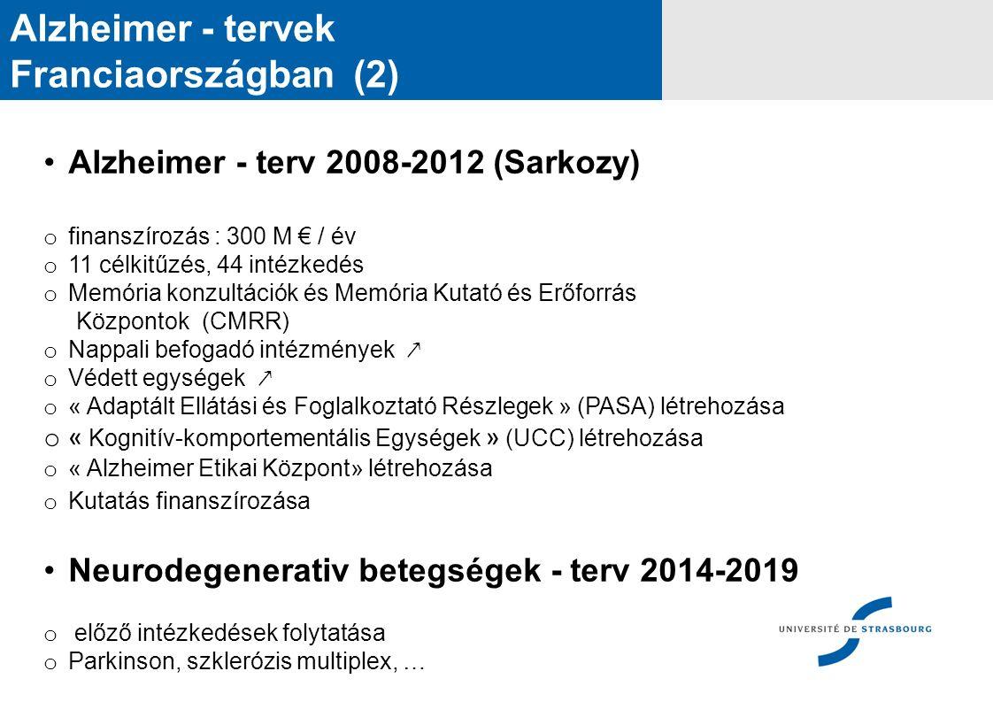 Alzheimer - tervek Franciaországban (2) Alzheimer - terv 2008-2012 (Sarkozy) o finanszírozás : 300 M € / év o 11 célkitűzés, 44 intézkedés o Memória konzultációk és Memória Kutató és Erőforrás Központok (CMRR) o Nappali befogadó intézmények ↗ o Védett egységek ↗ o « Adaptált Ellátási és Foglalkoztató Részlegek » (PASA) létrehozása o « Kognitív-komportementális Egységek » (UCC) létrehozása o « Alzheimer Etikai Központ» létrehozása o Kutatás finanszírozása Neurodegenerativ betegségek - terv 2014-2019 o előző intézkedések folytatása o Parkinson, szklerózis multiplex, …