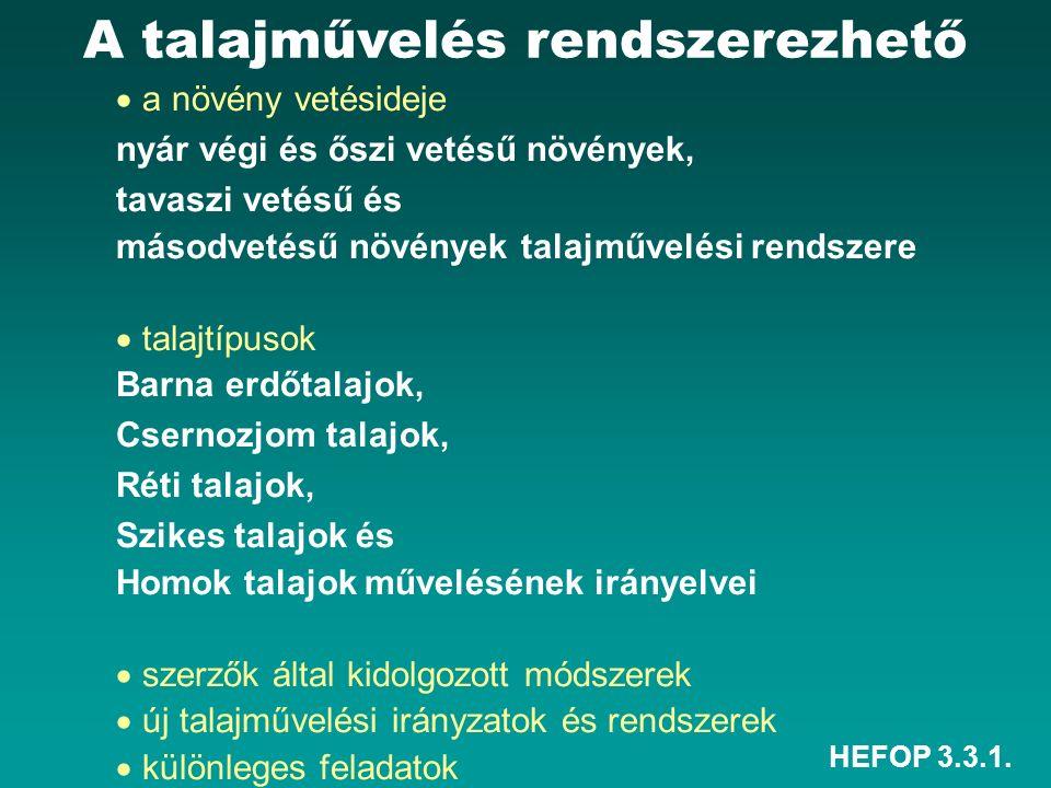 HEFOP 3.3.1.Korán lekerülő elővetemények után Tarló Tarlóhántás Középmély v.