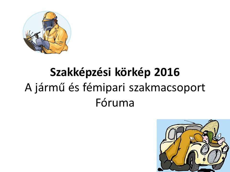 Szakképzési körkép 2016 A jármű és fémipari szakmacsoport Fóruma