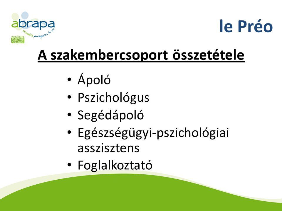 le Préo A szakembercsoport összetétele Ápoló Pszichológus Segédápoló Egészségügyi-pszichológiai asszisztens Foglalkoztató