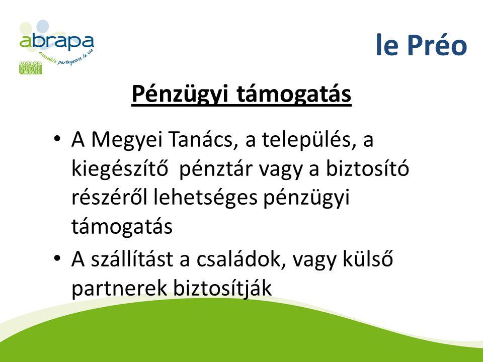 le Préo Pénzügyi támogatás A Megyei Tanács, a település, a kiegészítő pénztár vagy a biztosító részéről lehetséges pénzügyi támogatás A szállítást a családok, vagy külső partnerek biztosítják