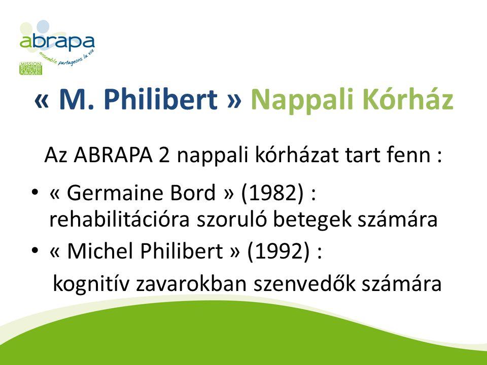 « M. Philibert » Nappali Kórház Az ABRAPA 2 nappali kórházat tart fenn : « Germaine Bord » (1982) : rehabilitációra szoruló betegek számára « Michel P