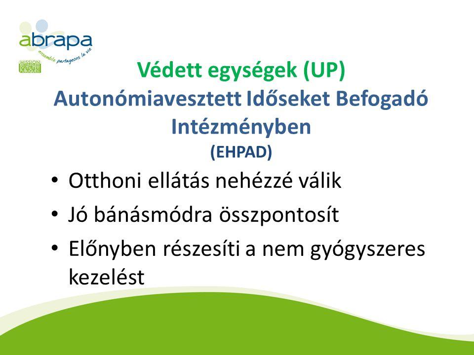 Védett egységek (UP) Autonómiavesztett Időseket Befogadó Intézményben (EHPAD) Otthoni ellátás nehézzé válik Jó bánásmódra összpontosít Előnyben részesíti a nem gyógyszeres kezelést