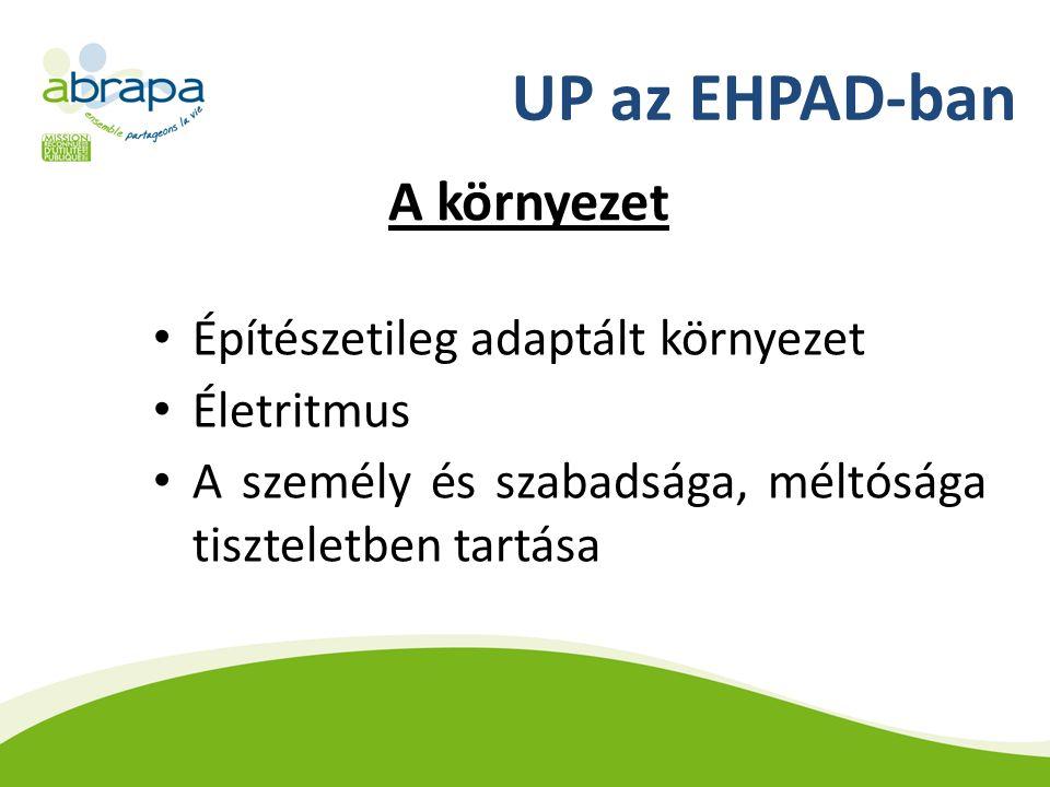 UP az EHPAD-ban A környezet Építészetileg adaptált környezet Életritmus A személy és szabadsága, méltósága tiszteletben tartása