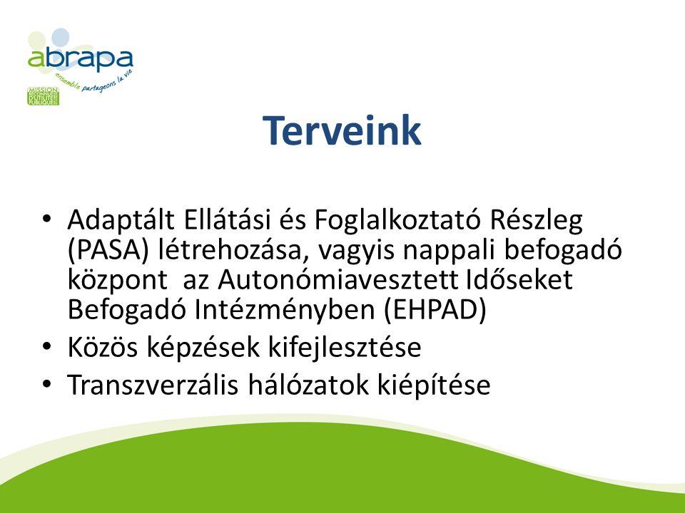 Terveink Adaptált Ellátási és Foglalkoztató Részleg (PASA) létrehozása, vagyis nappali befogadó központ az Autonómiavesztett Időseket Befogadó Intézményben (EHPAD) Közös képzések kifejlesztése Transzverzális hálózatok kiépítése