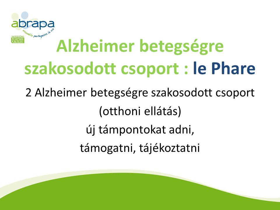 Alzheimer betegségre szakosodott csoport : le Phare 2 Alzheimer betegségre szakosodott csoport (otthoni ellátás) új támpontokat adni, támogatni, tájékoztatni