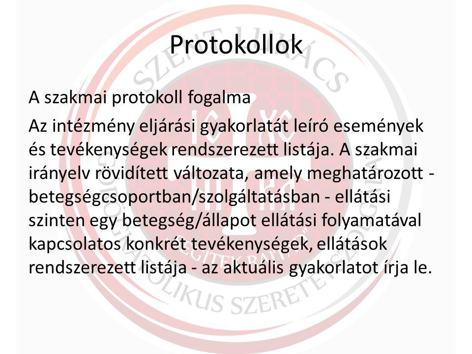 Protokollok A szakmai protokoll fogalma Az intézmény eljárási gyakorlatát leíró események és tevékenységek rendszerezett listája.