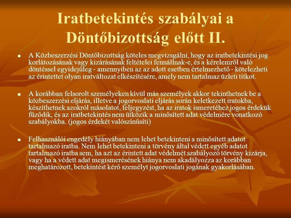 Iratbetekintés szabályai a Döntőbizottság előtt II.