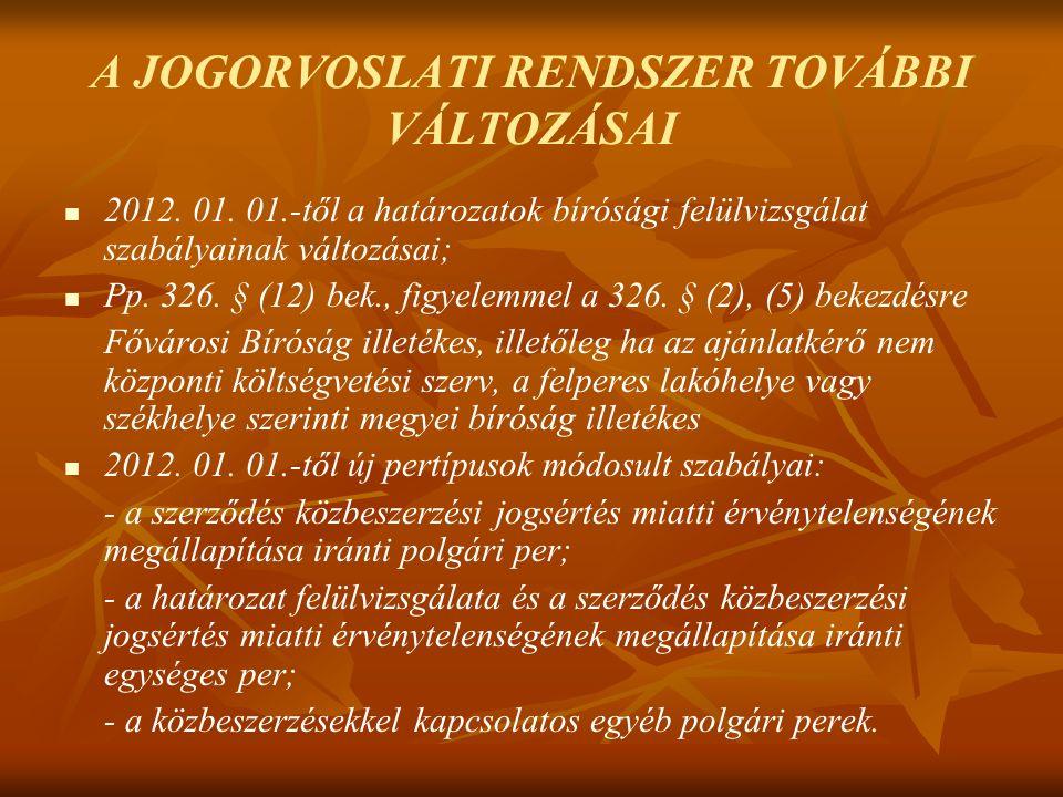 A JOGORVOSLATI RENDSZER TOVÁBBI VÁLTOZÁSAI 2012. 01.