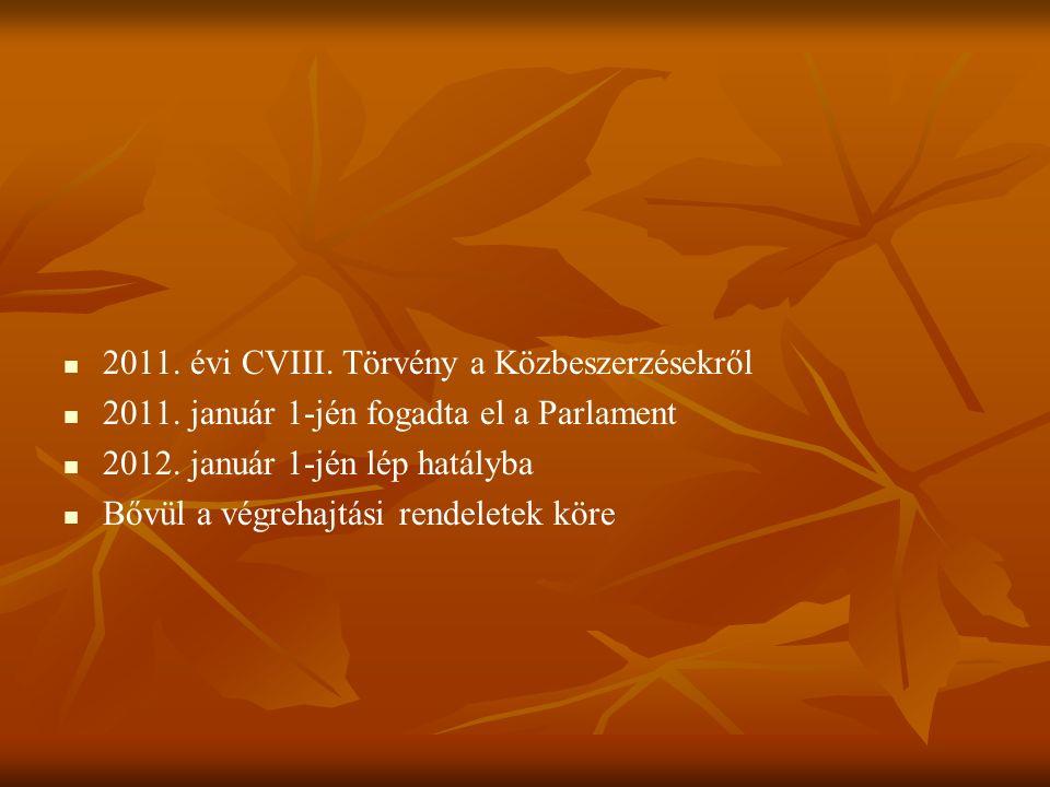 2011. évi CVIII. Törvény a Közbeszerzésekről 2011.