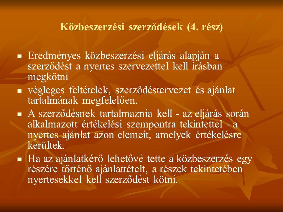 Közbeszerzési szerződések (4.