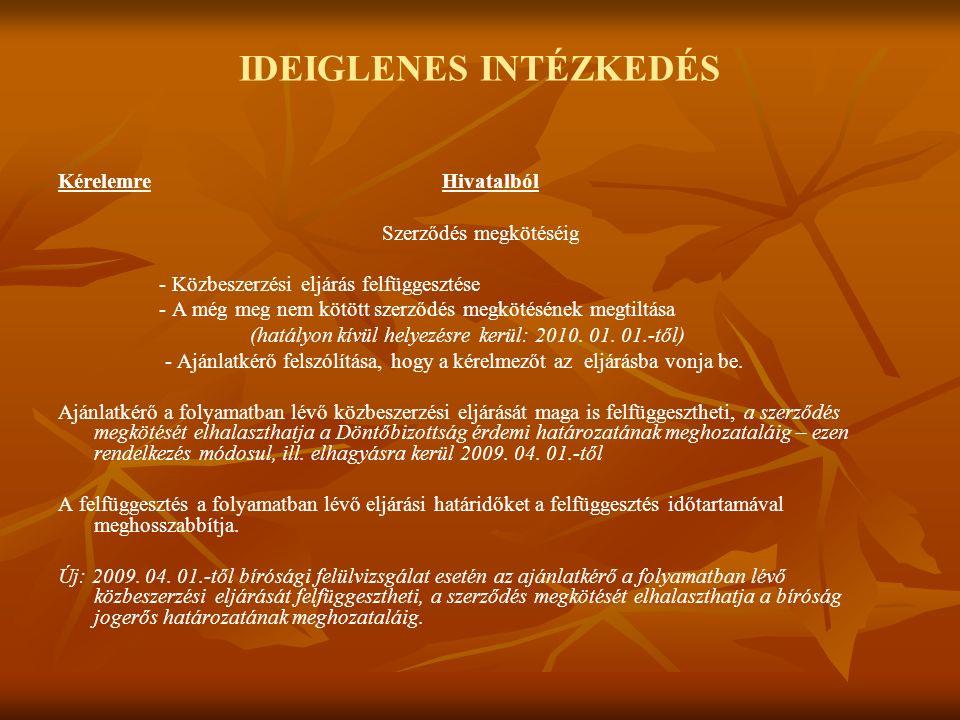 IDEIGLENES INTÉZKEDÉS KérelemreHivatalból Szerződés megkötéséig - Közbeszerzési eljárás felfüggesztése - A még meg nem kötött szerződés megkötésének megtiltása (hatályon kívül helyezésre kerül: 2010.