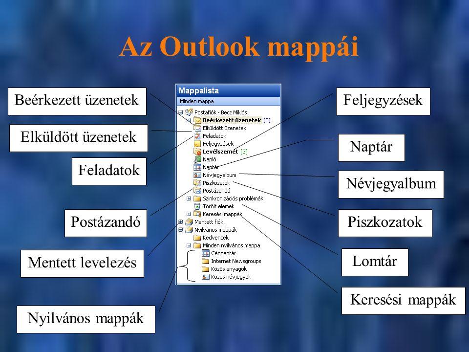 Az Outlook mappái Naptár Névjegyalbum Lomtár Piszkozatok Beérkezett üzenetekFeljegyzések Postázandó Elküldött üzenetek Feladatok Nyilvános mappák Mentett levelezés Keresési mappák
