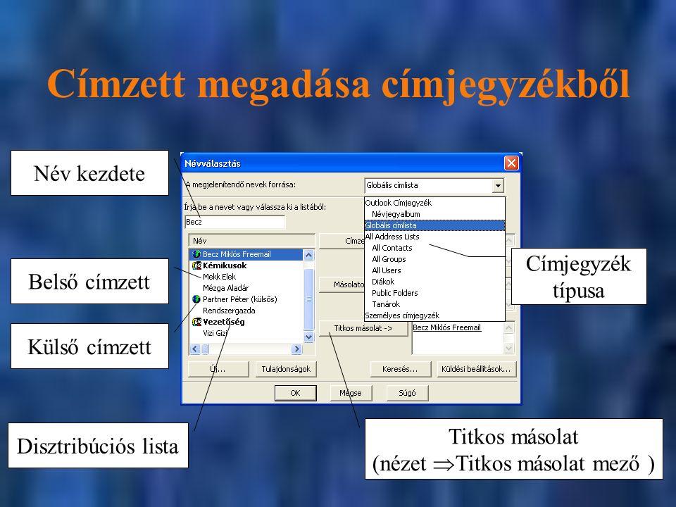 Címzett megadása címjegyzékből Külső címzett Belső címzett Disztribúciós lista Titkos másolat (nézet  Titkos másolat mező ) Név kezdete Címjegyzék típusa