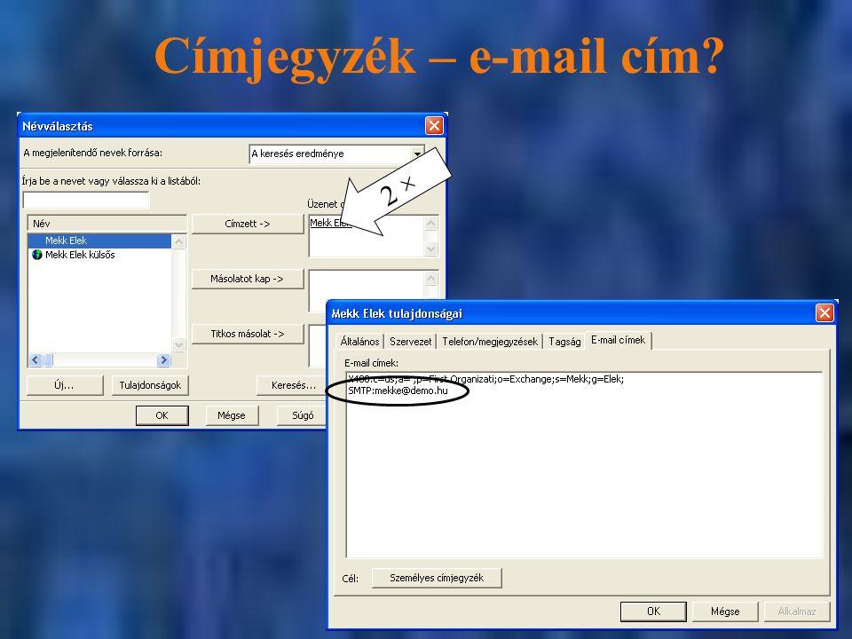 Címjegyzék – e-mail cím? 2 ×