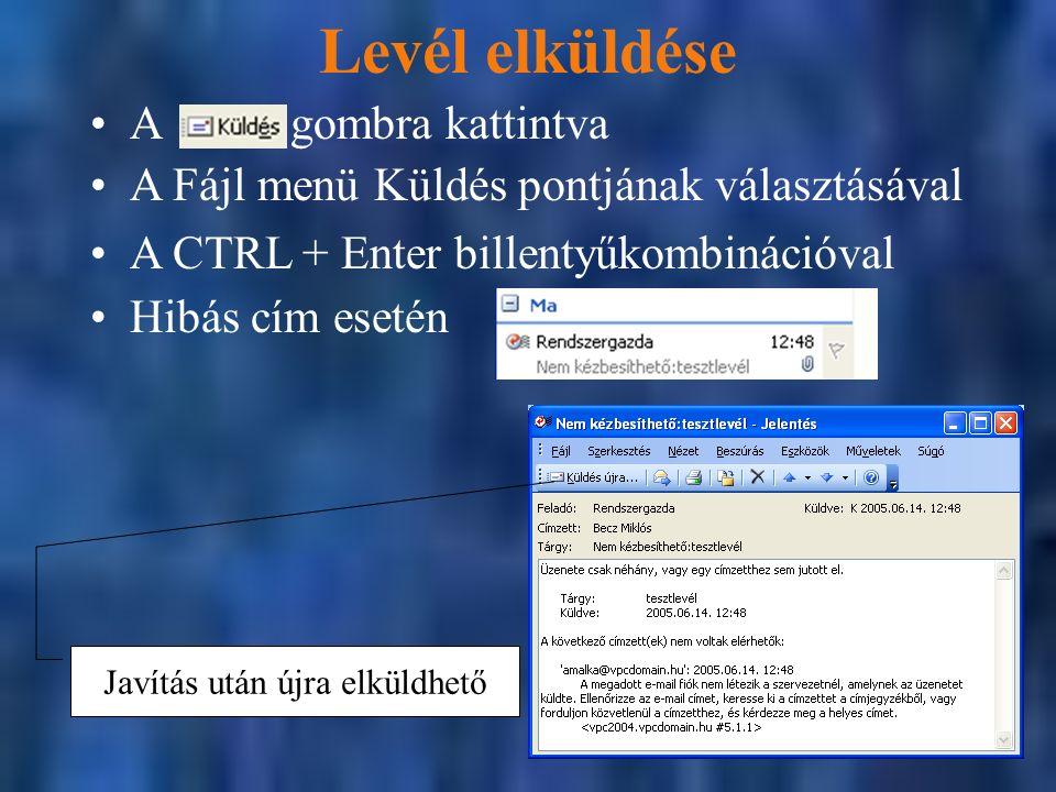 Levél elküldése A Fájl menü Küldés pontjának választásával A CTRL + Enter billentyűkombinációval Javítás után újra elküldhető A gombra kattintva Hibás cím esetén