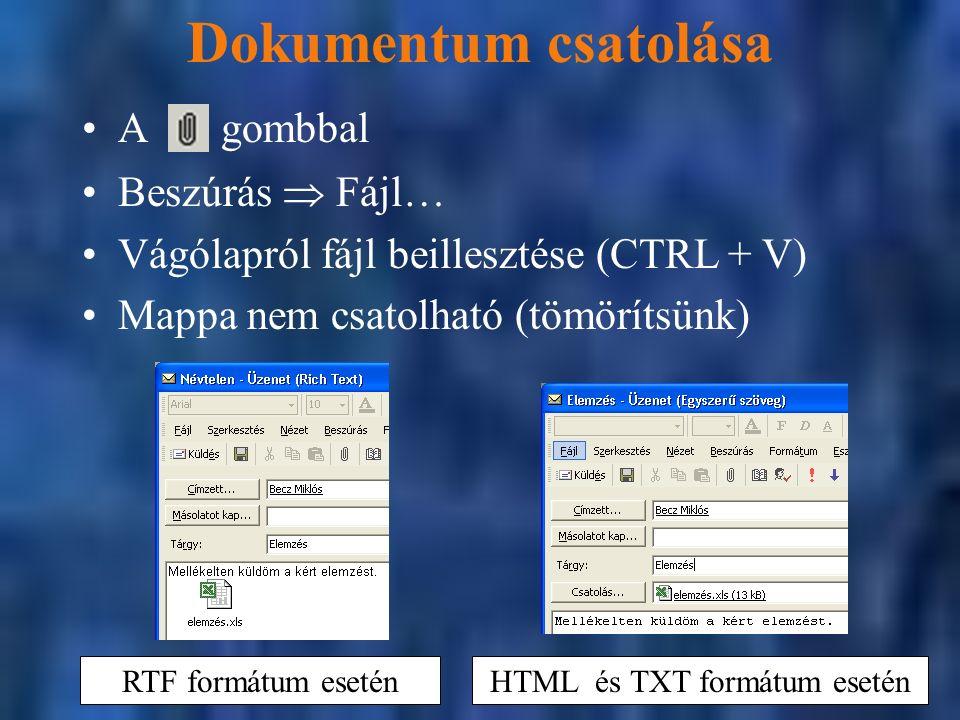 Dokumentum csatolása Beszúrás  Fájl… Vágólapról fájl beillesztése (CTRL + V) Mappa nem csatolható (tömörítsünk) A gombbal RTF formátum esetén HTML és TXT formátum esetén