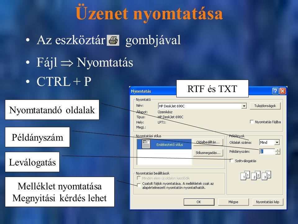 RTF és TXT Üzenet nyomtatása Fájl  Nyomtatás CTRL + P Melléklet nyomtatása Megnyitási kérdés lehet Leválogatás Nyomtatandó oldalak Példányszám Az eszköztár gombjával