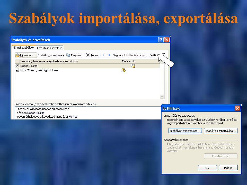 Szabályok importálása, exportálása