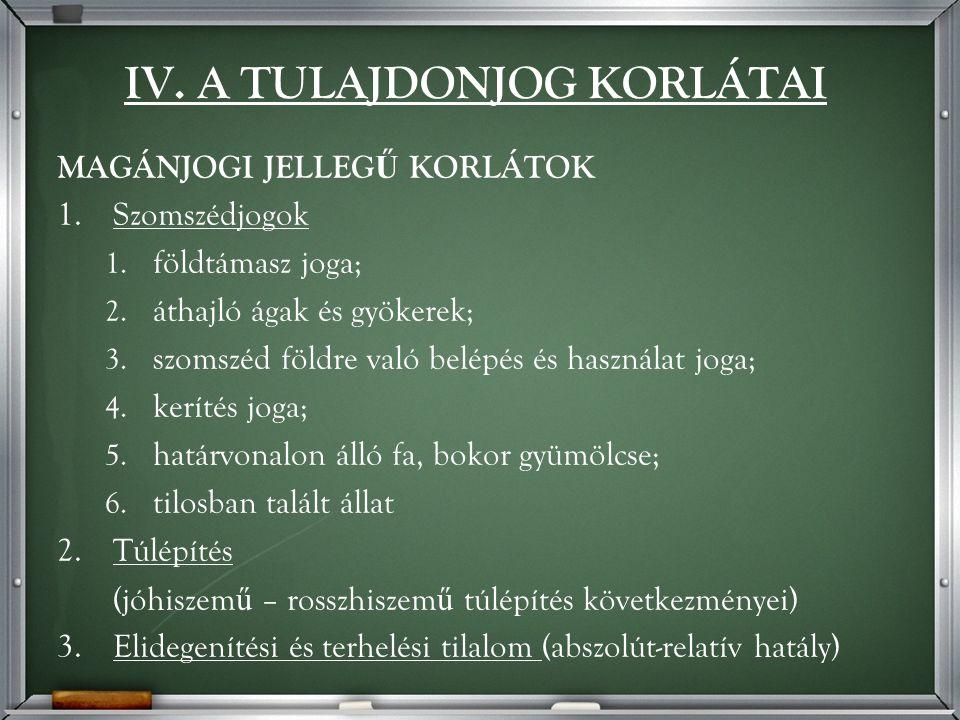 IV. A TULAJDONJOG KORLÁTAI MAGÁNJOGI JELLEG Ű KORLÁTOK 1.Szomszédjogok 1.