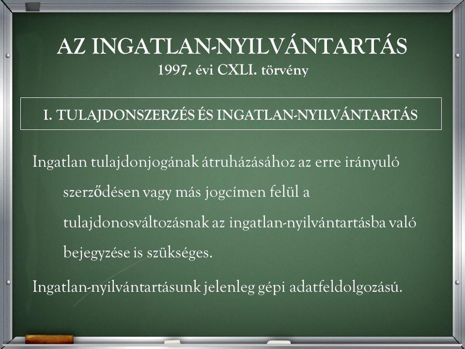 AZ INGATLAN-NYILVÁNTARTÁS 1997. évi CXLI.