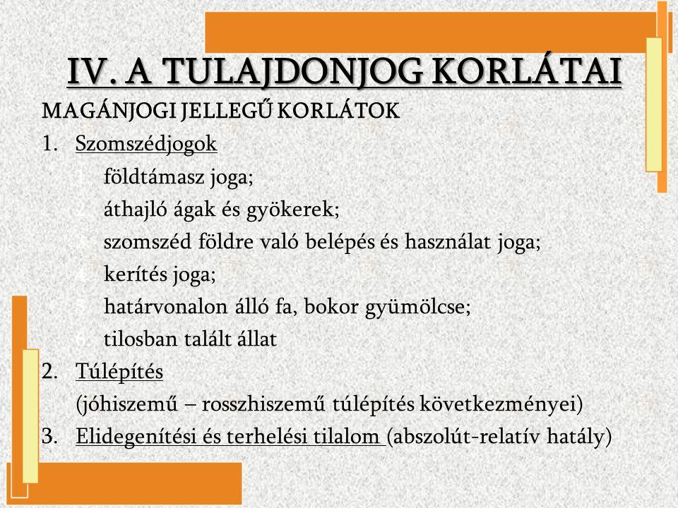 IV. A TULAJDONJOG KORLÁTAI MAGÁNJOGI JELLEGŰ KORLÁTOK 1.Szomszédjogok 1.