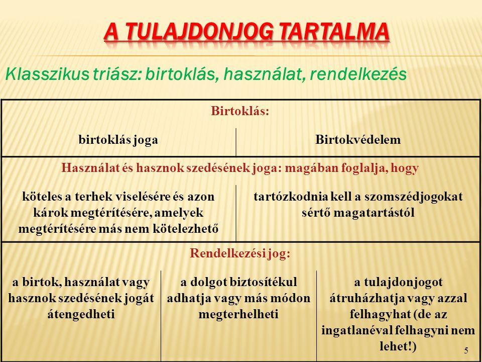 IV.A TULAJDONJOG KORLÁTAI 2.