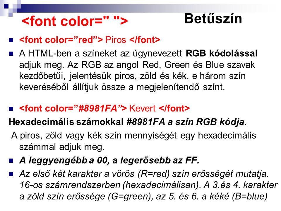 Piros A HTML-ben a színeket az úgynevezett RGB kódolással adjuk meg. Az RGB az angol Red, Green és Blue szavak kezdőbetűi, jelentésük piros, zöld és k