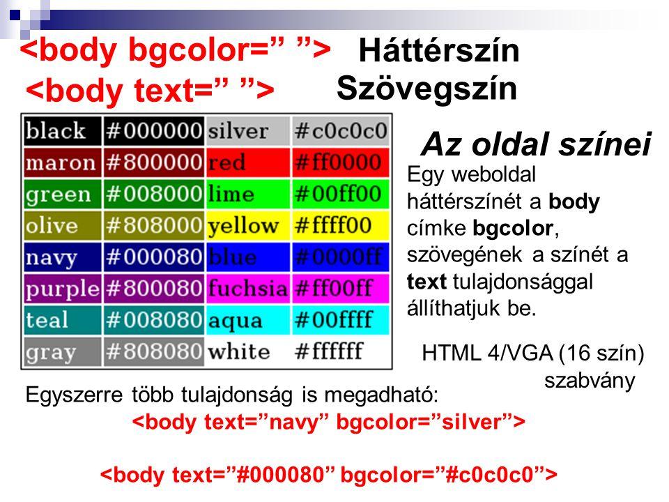 Egy weboldal háttérszínét a body címke bgcolor, szövegének a színét a text tulajdonsággal állíthatjuk be. Háttérszín Az oldal színei Szövegszín Egysze