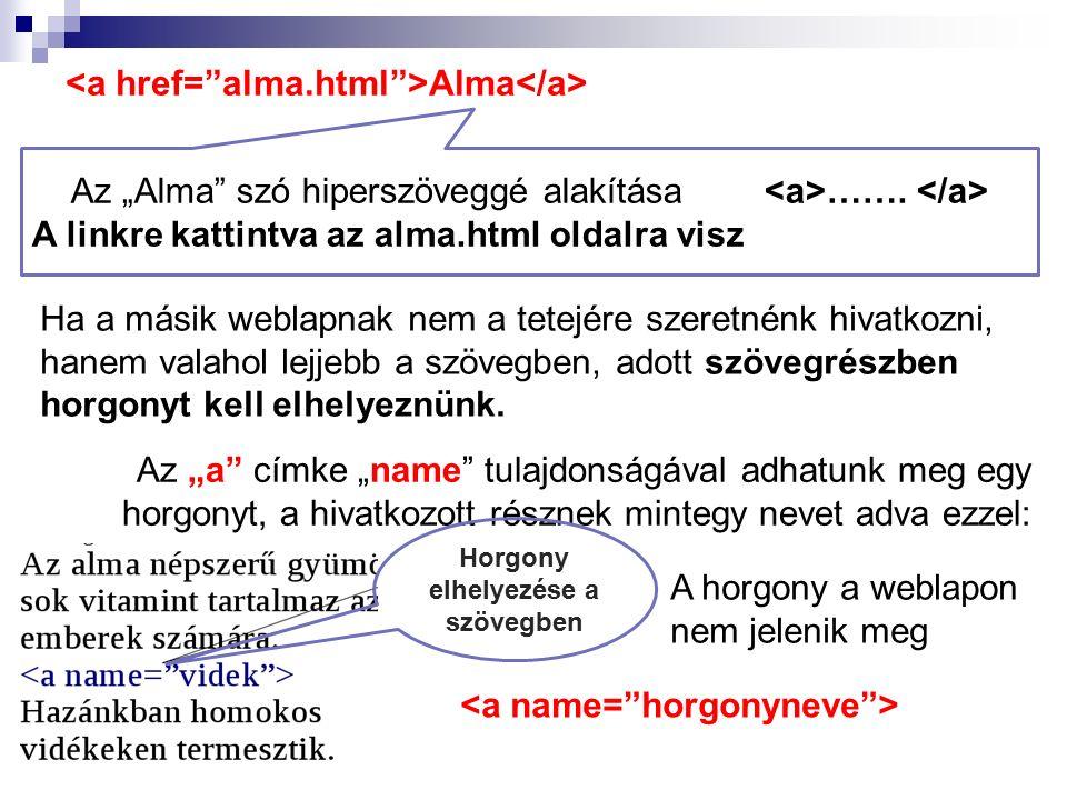 """Alma Az """"Alma"""" szó hiperszöveggé alakítása ……. A linkre kattintva az alma.html oldalra visz Ha a másik weblapnak nem a tetejére szeretnénk hivatkozni,"""