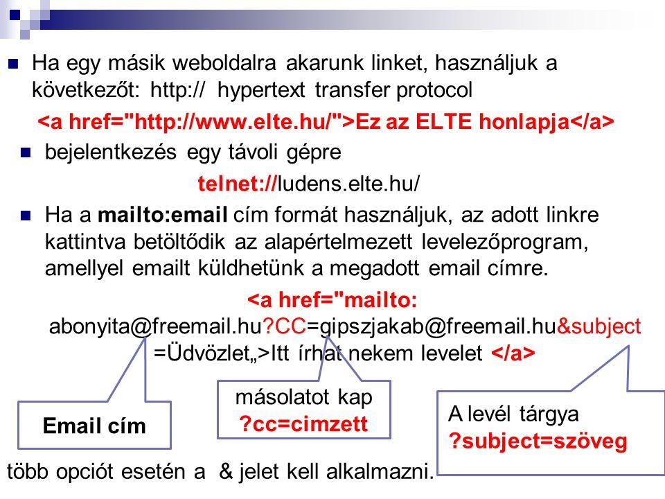 Ha egy másik weboldalra akarunk linket, használjuk a következőt: http:// hypertext transfer protocol Ez az ELTE honlapja Ha a mailto:email cím formát