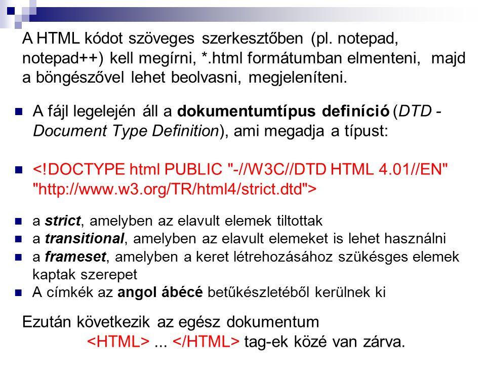 A fájl legelején áll a dokumentumtípus definíció (DTD - Document Type Definition), ami megadja a típust: a strict, amelyben az elavult elemek tiltotta