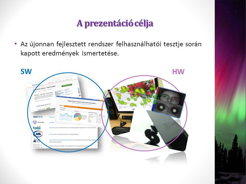 A prezentáció célja Az újonnan fejlesztett rendszer felhasználhatói tesztje során kapott eredmények ismertetése. SW HW