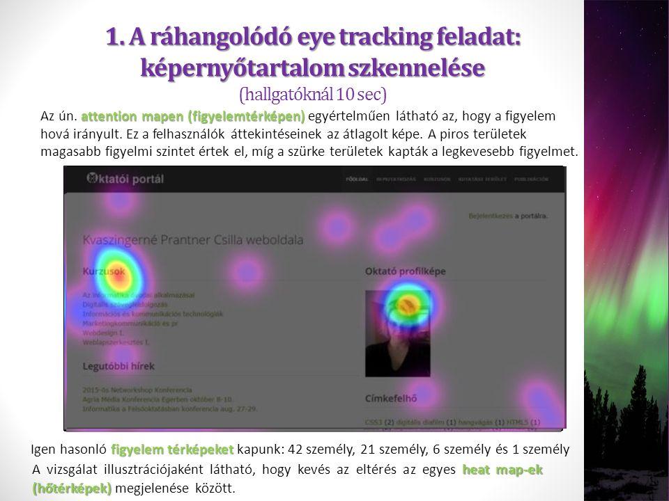1. A ráhangolódó eye tracking feladat: képernyőtartalom szkennelése 1. A ráhangolódó eye tracking feladat: képernyőtartalom szkennelése (hallgatóknál