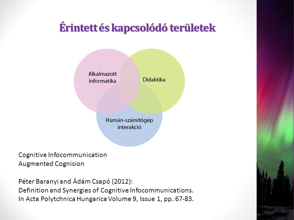 Érintett és kapcsolódó területek Cognitive Infocommunication Augmented Cognision Péter Baranyi and Ádám Csapó (2012): Definition and Synergies of Cogn