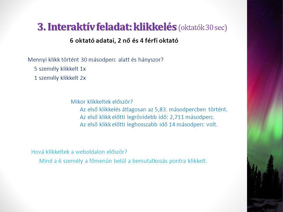 3. Interaktív feladat: klikkelés 3. Interaktív feladat: klikkelés (oktatók 30 sec) 6 oktató adatai, 2 nő és 4 férfi oktató Az első klikkelés átlagosan