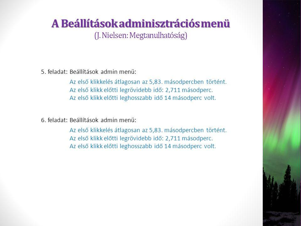 A Beállítások adminisztrációs menü A Beállítások adminisztrációs menü (J. Nielsen: Megtanulhatóság) Az első klikkelés átlagosan az 5,83. másodpercben