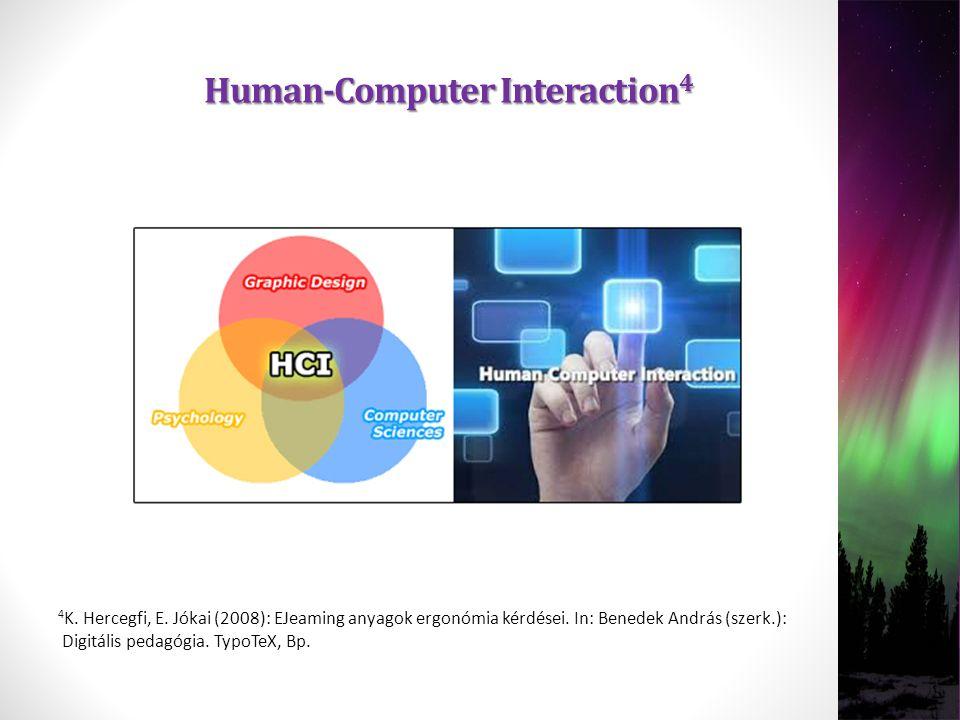4 K. Hercegfi, E. Jókai (2008): EJeaming anyagok ergonómia kérdései. In: Benedek András (szerk.): Digitális pedagógia. TypoTeX, Bp. Human-Computer Int
