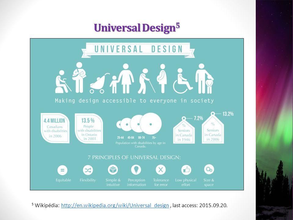 5 Wikipédia: http://en.wikipedia.org/wiki/Universal_design, last access: 2015.09.20.http://en.wikipedia.org/wiki/Universal_design Universal Design 5