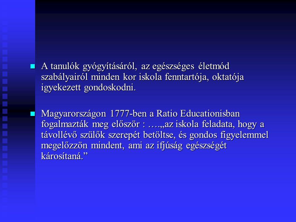 A tanulók gyógyításáról, az egészséges életmód szabályairól minden kor iskola fenntartója, oktatója igyekezett gondoskodni.
