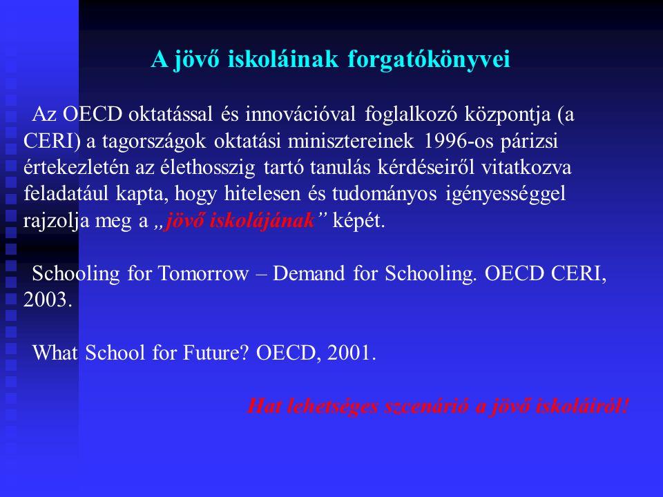 """A jövő iskoláinak forgatókönyvei Az OECD oktatással és innovációval foglalkozó központja (a CERI) a tagországok oktatási minisztereinek 1996-os párizsi értekezletén az élethosszig tartó tanulás kérdéseiről vitatkozva feladatául kapta, hogy hitelesen és tudományos igényességgel rajzolja meg a """"jövő iskolájának képét."""