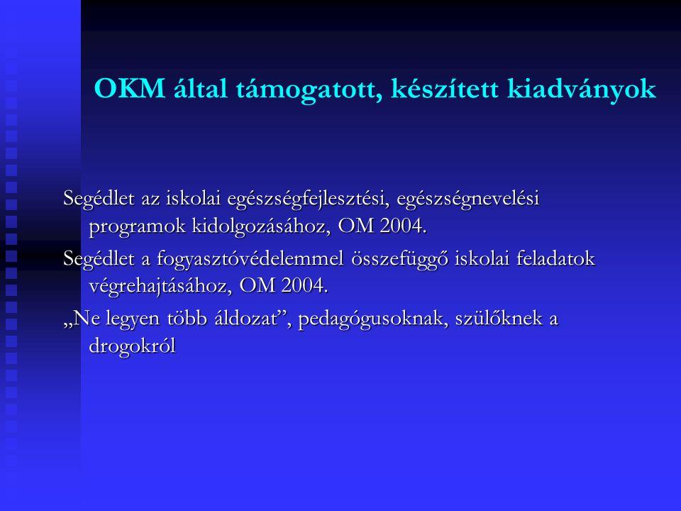 OKM által támogatott, készített kiadványok Segédlet az iskolai egészségfejlesztési, egészségnevelési programok kidolgozásához, OM 2004.