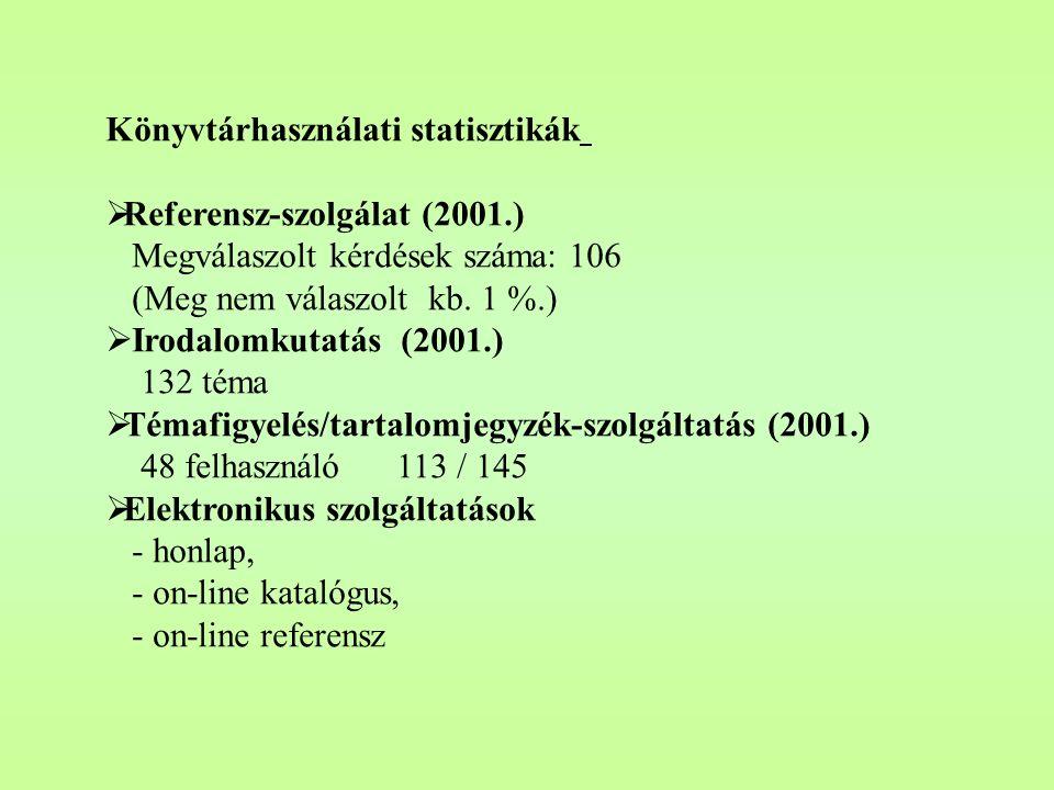 Könyvtárhasználati statisztikák  Olvasószolgálat (2001.) Beiratkozott olvasó 805 fő Kölcsönzők száma: 2353 fő kölcsönzött dokumentum: 3866 db.  Fény
