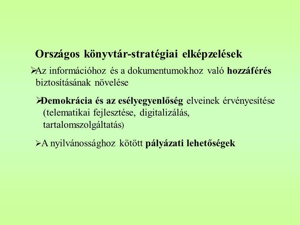 Országos könyvtár-stratégiai elképzelések  Az információhoz és a dokumentumokhoz való hozzáférés biztosításának növelése  Demokrácia és az esélyegyenlőség elveinek érvényesítése (telematikai fejlesztése, digitalizálás, tartalomszolgáltatás )  A nyilvánossághoz kötött pályázati lehetőségek