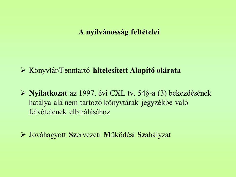 A nyilvánosság feltételei  Könyvtár/Fenntartó hitelesített Alapító okirata  Nyilatkozat az 1997.