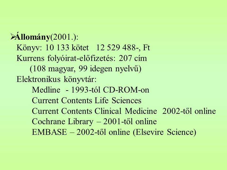  Állomány(2001.): Könyv: 10 133 kötet 12 529 488-, Ft Kurrens folyóirat-előfizetés: 207 cím (108 magyar, 99 idegen nyelvű) Elektronikus könyvtár: Medline - 1993-tól CD-ROM-on Current Contents Life Sciences Current Contents Clinical Medicine 2002-től online Cochrane Library – 2001-től online EMBASE – 2002-től online (Elsevire Science)