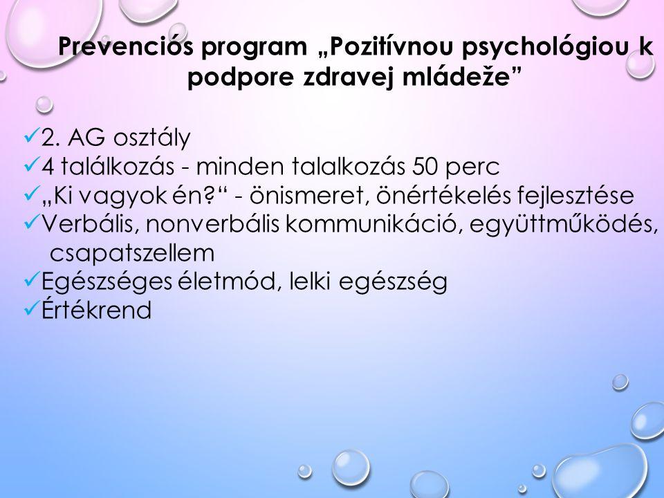 """Prevenciós program """"Pozitívnou psychológiou k podpore zdravej mládeže"""" 2. AG osztály 4 találkozás - minden talalkozás 50 perc """"Ki vagyok én?"""" - önisme"""