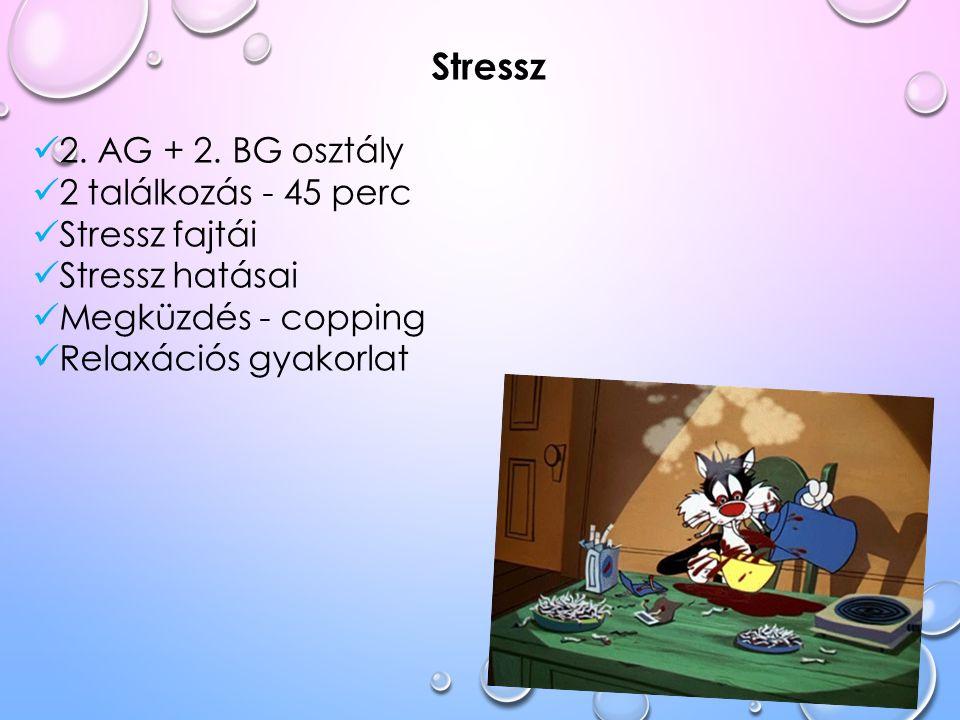 Stressz 2. AG + 2. BG osztály 2 találkozás - 45 perc Stressz fajtái Stressz hatásai Megküzdés - copping Relaxációs gyakorlat